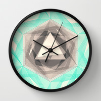 Jewel Lines 2 - Jade & Charcoal Wall Clock by Micklyn