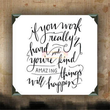 "Amazing things will happen | decorated canvas | wall hanging | wall decor | inspiring quotes on canvas | 12"" x 12"""