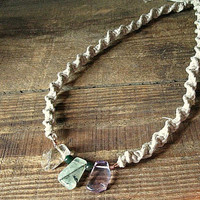 Thick Hemp and Crystal Necklace - Made with Amethyst, Citrine and Prehnite
