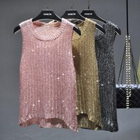 2017 FALL FASHION Women's One Size O Neck Sequined Knitted Tank Top