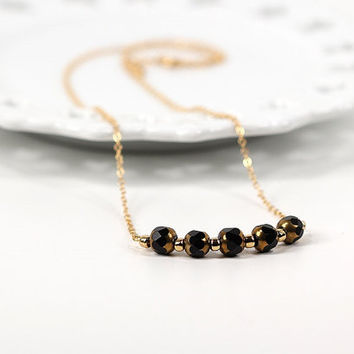 Black and Gold Bar Pendant and Chain Necklace Carnival Collection