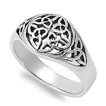 925 Sterling Silver Six Wiccan Triquetra Ring