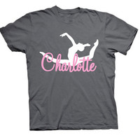 Gymnastics Dance T-shirt Girls Name Choose Colors  Personalized