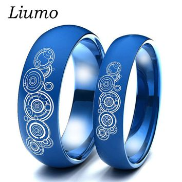 Liumo Black Gold Silver Blue Color Doctor Who 316L Stainless Steel Men Women Ring Couple Ring Lr349