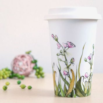 Ceramic EcoFriendly Travel Mug Buds and Grass by yevgenia