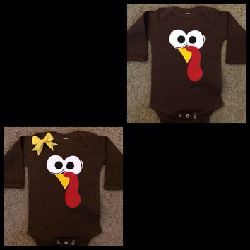 Turkey Onesuit - Toddler Shirt - Thanksgiving Onesuit - Long Sleeve Onesuit - Ruffles with Love - Baby Clothing - RWL