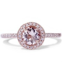 1.00CT Morganite & Diamond Engagement Ring 14K Rose Gold