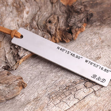 Personalized Bookmark - GPS Coordinates Bookmark - Custom Metal Initials Bookmark - Teather Gift