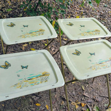 Cal Dak Fiberglass TV Tray Tables Set of with Four Rolling Stand Butterflies Field Design