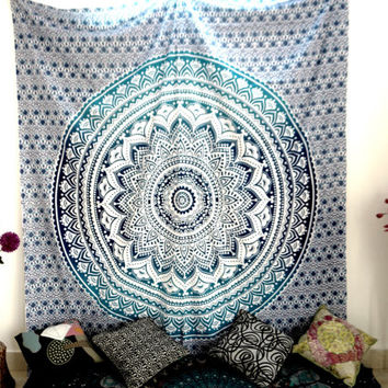 Ombre Indian Mandala Tapestry Wall Hanging Decor Bedspread Blue beach throw