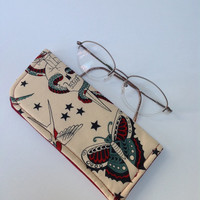 For the Love of Tatoo Art Tan Eyeglass Case