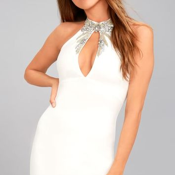 Alluring Evening White Beaded Bodycon Dress