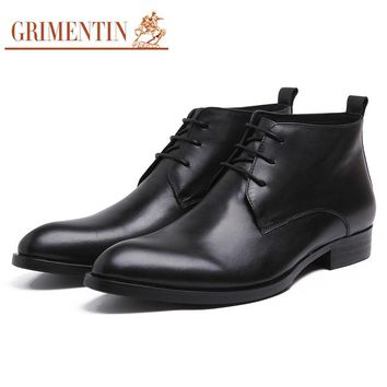 GRIMENTIN brand fashion luxury mens ankle boots genuine leather lace up black italian mens business shoes