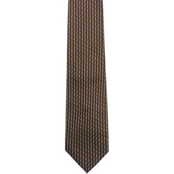 Tesoro Rosso Vertically Striped Wide Silk Tie - Brown