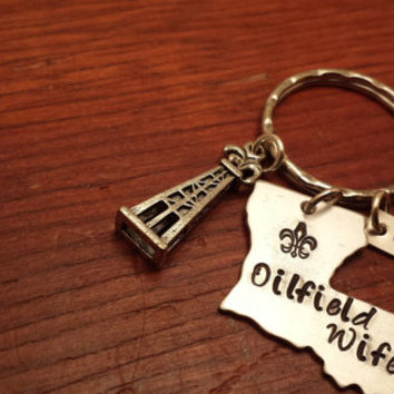 "Hand stamped personalized Louisiana (could use another state) key chain oilfield. ""Oilfield Wife"""