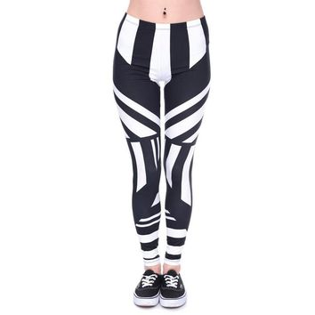 Tattoo Black and White Striped Leggings
