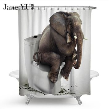 JaneYU 2 Colors 100% Polyester Waterproof cloth Shower Curtains Cute 3D elephant Printing Bath Curtain with 12 hooks