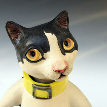 Hand sculpted White & Black Cat Jar Figural by MaidOfClay on Etsy