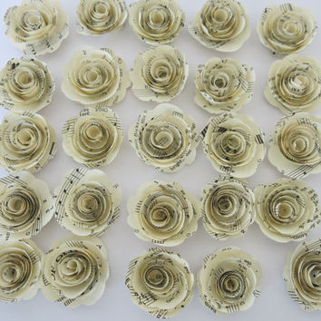 "Sheet Music Roses set of 25, Musical Party Theme decorations, 1.5"" paper flowers, Popular baby shower decor Wedding centerpiece teacher gift"