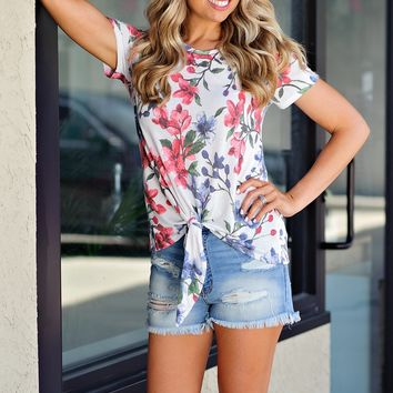 * Floral Galore Tie Tee : Off White