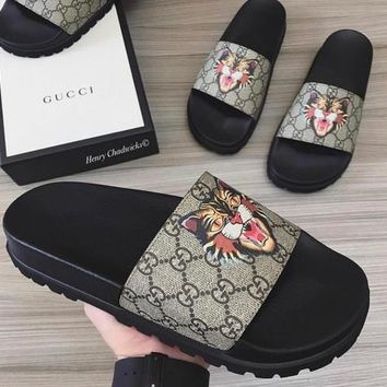 GUCCI Stylish Unisex Casual Angry Cat Pattern Sandal Slipper Shoes I