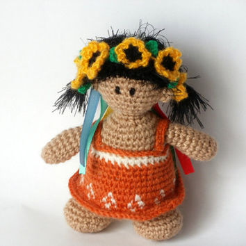 Crochet Toys Crochet Wreath Toy amigurumi  Doll Yellow orange Flowers Ukraine Crochet Doll Sunflower Dolls children Gifts for kids