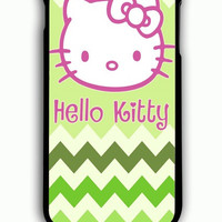 iPhone 6 Plus Case - Rubber (TPU) Cover with Hello Kitty on Green Chevron Rubber Case Design
