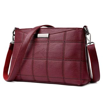 Women Handbag Leather Plaid Messenger Bags Sac a Main Shoulder Bags Women Crossbody Bag Ladies Designer High Quality Handbags