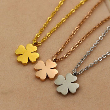 Stainless Steel Lucky Clover Pendant Necklace