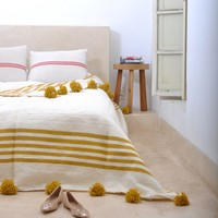 Pom Pom Blanket, Mustard Yellow