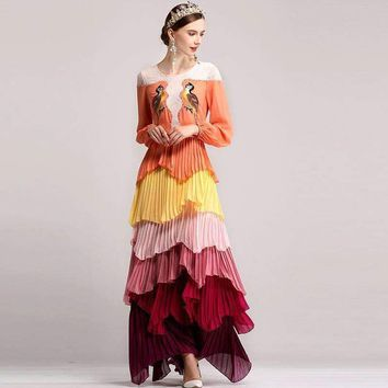 Ethnic Long Sleeve Colored Floral Long Maxi Dress Women Bird Embroidery Appliques Loose Dress