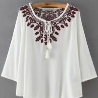 White Tie-neck Embroidered Long Sleeve Blouse