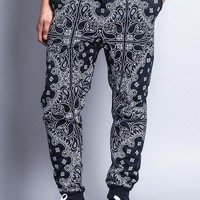 Men's Grid Bandana French Terry Jogger Pants JG820 - I2G