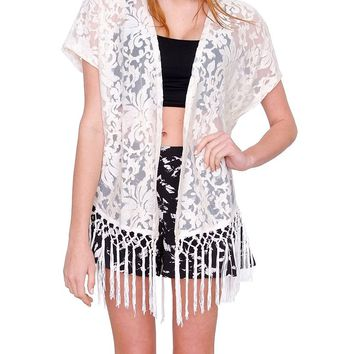 Sienna Lace Open Cardigan - Ivory