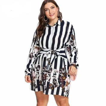 Flower Stripe Print Long Sleeve Mini Dress