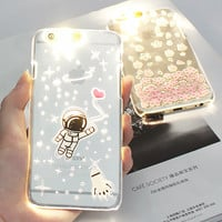 For i6 6s 4.7 PC Flash Up Light Luminous LED Mobile Phone Case Cover for iPhone 6 5 5s Plus 5.5 inch Space Star Astronaut Sakura