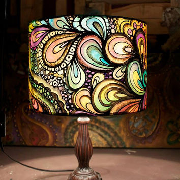 Psychedelic Design, Multi-Coloured, Hand Silk Painted Lamp Shade, 30cm Drum, Made To Order.