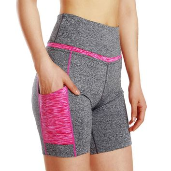 STYLEDOME Women High Elastic Waist Hip Push Up Tight Yoga Running Gym Yoga Quick Dry Breathable Polyester Sportswear Short Pant with Pocket