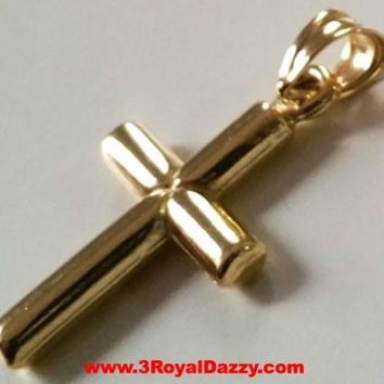 Small Italian Christian Cross 14k yellow gold layer over Sterling Silver Pendant