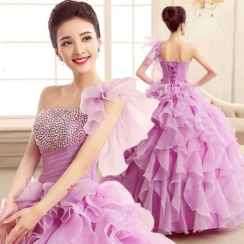 Pearls Ruched puffy  Quinceanera Dress