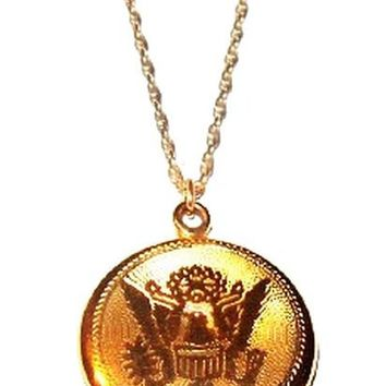 "Military Locket Pendant Necklace Gold Metal US Army Cable Chain 20"" Vintage"