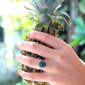 Turquoise Simple Silver Ring for Women, Gemstone Ring, Ethnic Jewelry, Simple Bohemian Ring, Stacking Granulated Silver Hand Hammered Ring
