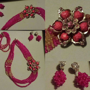 Vintage & In-trend Nigerian jewelry set--necklace,bracelet, and earrings (red n pink) bridal set/wedding/baby shower/formal party/ gift idea