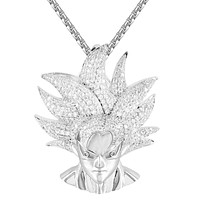 Mens Custom Character Goku Vegeta Face Hip Hop Pendant
