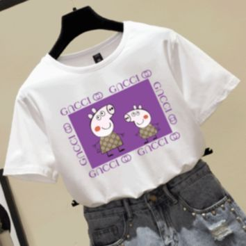 GUCCI & Pig Peggy new fashion purple letter t-shirt short-sleeved couple top White