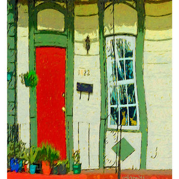 Whimsical Orange Cats Window, Colorful New Orleans House Giclee Print 8x10 11x14 16x20 - For Goodness Sake Dont Let the Cats Out - Korpita