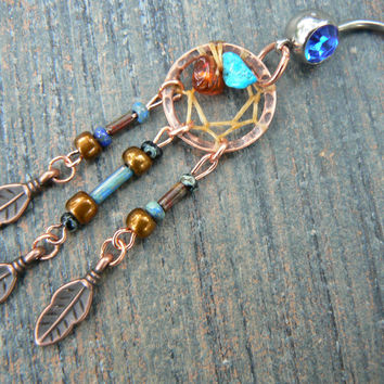 copper and turquoise dreamcatcher belly ring