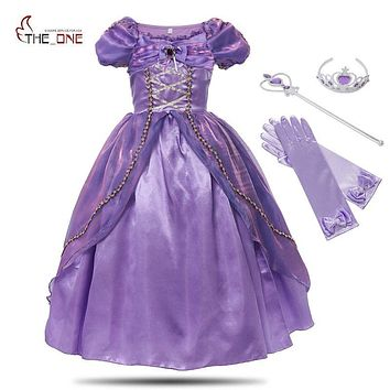MUABABY Girls Princess Rapunzel Dress Costume Children Deluxe Tangled Dress up Clothing Kids Girl Part Dress Halloween Birthday