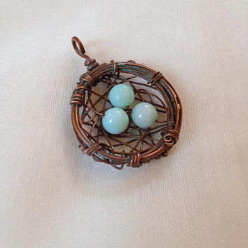 Verdigris Copper Bird's Nest Wire Wrap with Light Tiffany Blue Peruvian Opal Robin's Eggs Boho OOAK Pendant Necklace