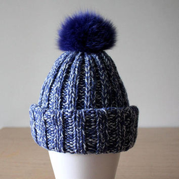 Fur pom pom hat, Blue hat, Cashmere hat, Glitter hat, Fur bobble hat, Rib knit hat, Fox fur pom pom, Knit hat with brim